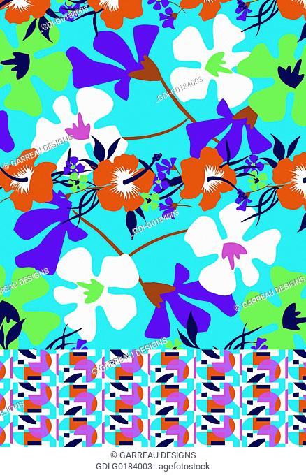 Bright colored tropical flowers design