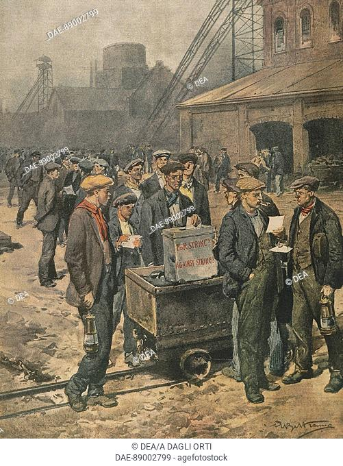 English miners voting on strike action. Illustrator Achille Beltrame (1871-1945), from La Domenica del Corriere, 1920