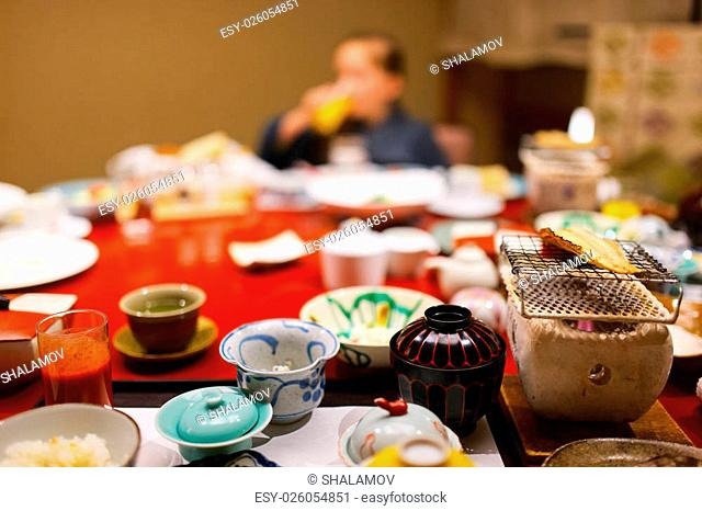 Traditional Japanese breakfast cooked with Hibachi stove grill, Takayama region food