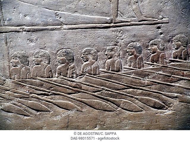 Relief with rowers, Mastaba of Mereruka, 2340 BC, Necropolis of Saqqara, Memphis (UNESCO World Heritage List, 1979), Egypt