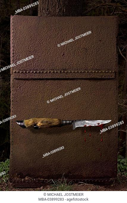 Forest, iron-plate, rusty, hunt-knives, blood, M, knives, grip, animal-leg, deer-leg, blade, bloody, blood-drops, symbol, hunt, concept, immensely, threat, fear