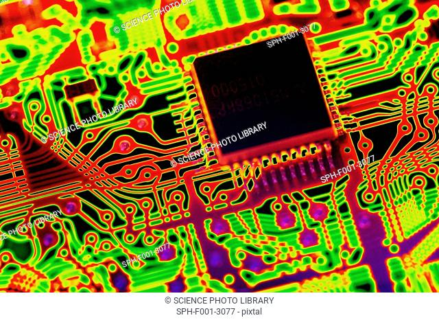 Microprocessor chip, computer artwork