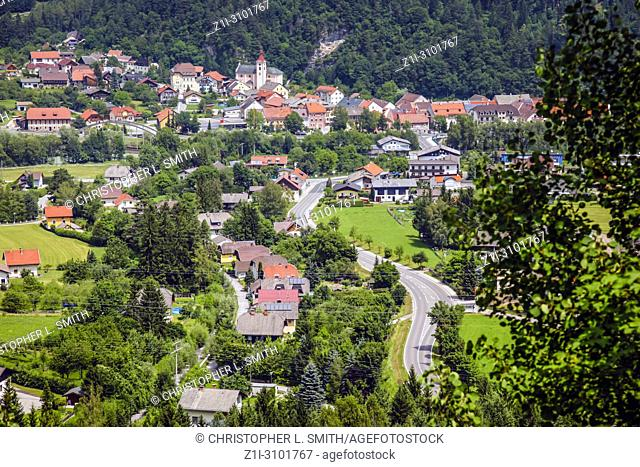 Aerial view of the small town of Laas in Austria