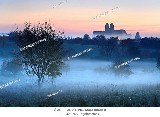 Castle hill with collegiate church of St. Servatius at sunrise, fog, UNESCO, in Quedlinburg, Saxony-Anhalt, Germany