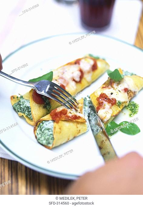 Crespelle al forno Baked filled crepes, Italy