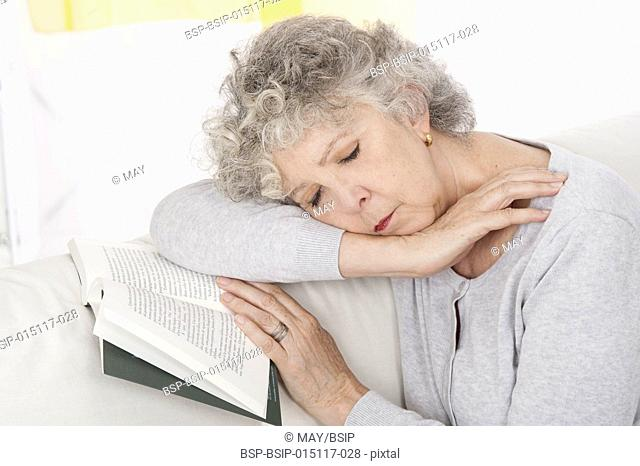 Senior woman asleep
