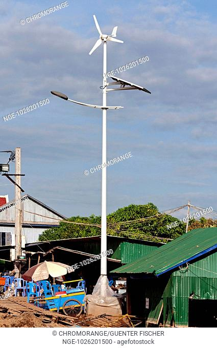 New solar and wind hybrid street light, Areyskat village, Phnom Penh, Cambodia