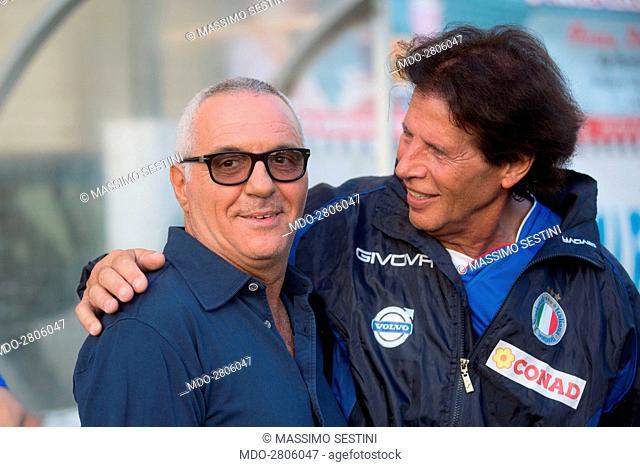 The showman Giorgio Panariello and the singer Sandro Giacobbe during the Partita del Cuore between the Nazionale Italiana Cantanti and the Versilia Team Carlo...