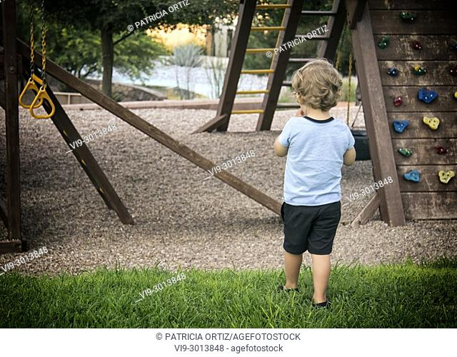 Toddler in playground in Chihuahua, Mexico