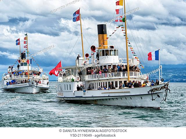 Ancient steamboats on Geneva Lake, there are still several ancient steamboats having regular cruises on the lake, Switzerland, Europe