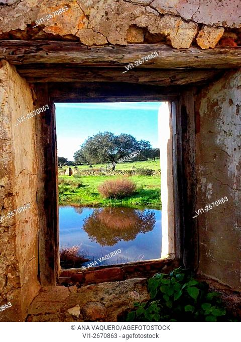 Window mill, Búrdalo river, miajadas, Cáceres, Extremadura, Spain
