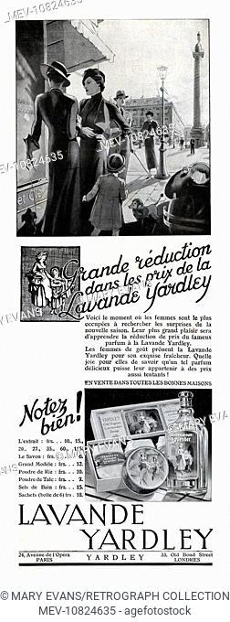 Art Deco Magazine Advertisement for Lavande Yardley (Lavender perfume, powder, talc, bath salts, sachets and soap)