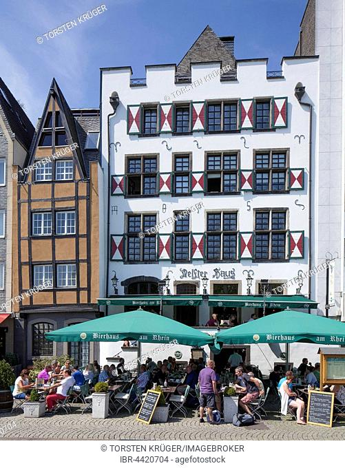 Delfter Haus, pub on Rhine river bank, dusk, Cologne, North Rhine-Westphalia, Germany
