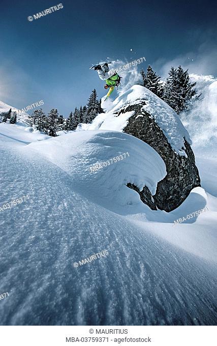 Snowboarder, jump, somersault