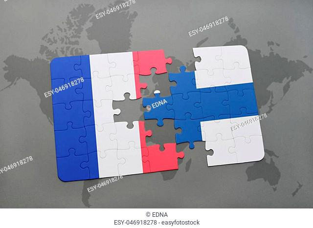 puzzle with the national flag of france and finland on a world map background. 3D illustration
