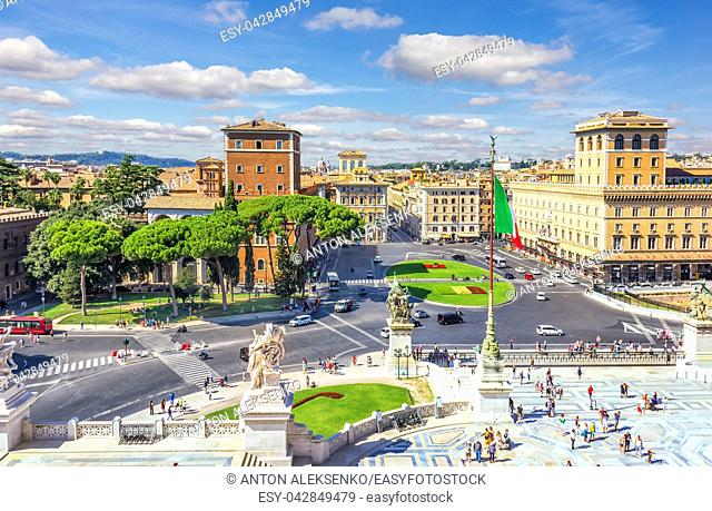 View on Piazza Venezia from the Altar of the Fatherland in Rome