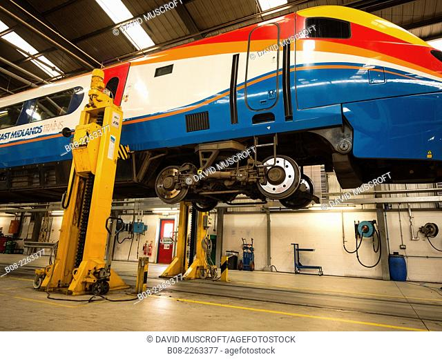 High Speed train being serviced at Etches Park depot,Derby,UK