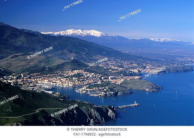 Vermeille coast with Port Vendres and back Canigou peak, Eastern Pyrenees, Languedoc-Roussillon region, France, Europe