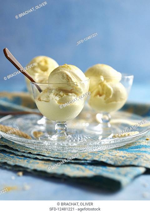 Orange butter sorbet with orange dust