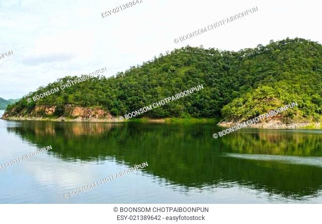 Scenic of green mountain in Srinakarin dam,Thailand