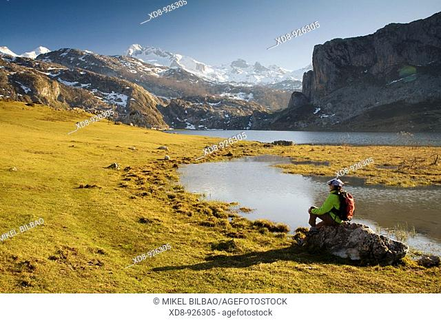 Ercina Lake and Peña Santa de Enol Mount  Covadonga Lakes  Picos de Europa National Park, Asturias, Spain