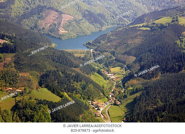 Nuarbe, Azpeitia, with the Ibaieder reservoir in background, Guipuzcoa, Basque Country, Spain
