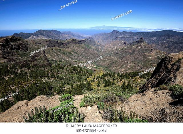 View from Roque Nublo, cultic rock of the ancient Canarians, in the Barranco del Chorrillo and the mountains in the west of Gran Canaria