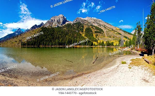 Panorama at Jenny Lake in Grand Teton National Park, Wyoming