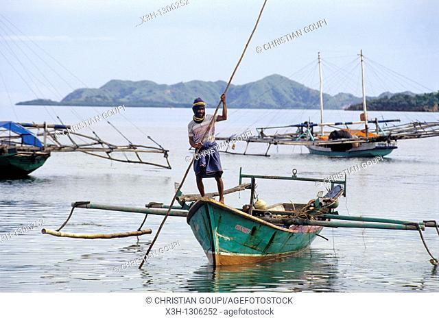 outrigger boats, Flores island, Lesser Sunda Islands, Republic of Indonesia, Southeast Asia and Oceania