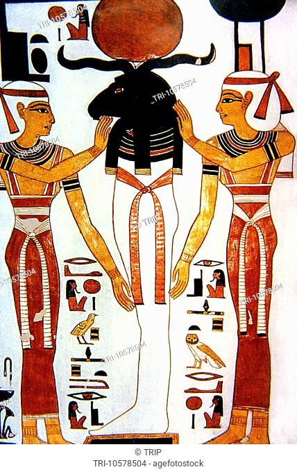Luxor Egypt Painting of Khenmu in Tomb of Nefertari