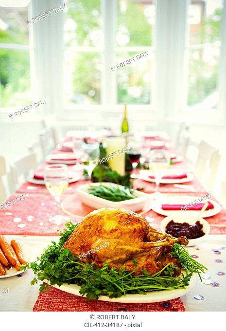 Christmas dinner turkey and white wine on dining table