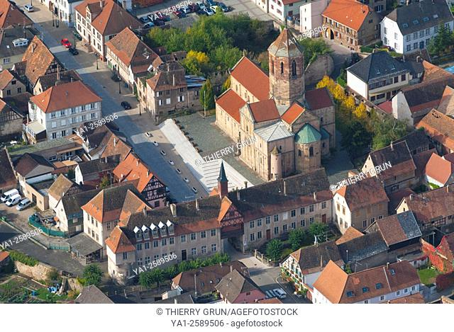 France, Bas Rhin 67, village of Rosheim, Old town gate and school Hohenbourg, back Saints Pierre and paul church aerial view