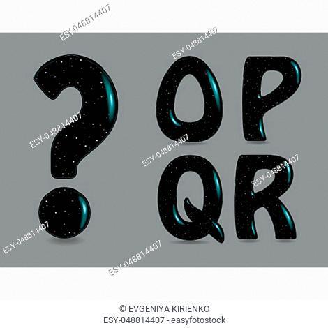 Set of Black Symbols - O, P, Q, R, Question mark. Black artistic font with bulk forms, glares and Flickering sparks. Vector Illustration