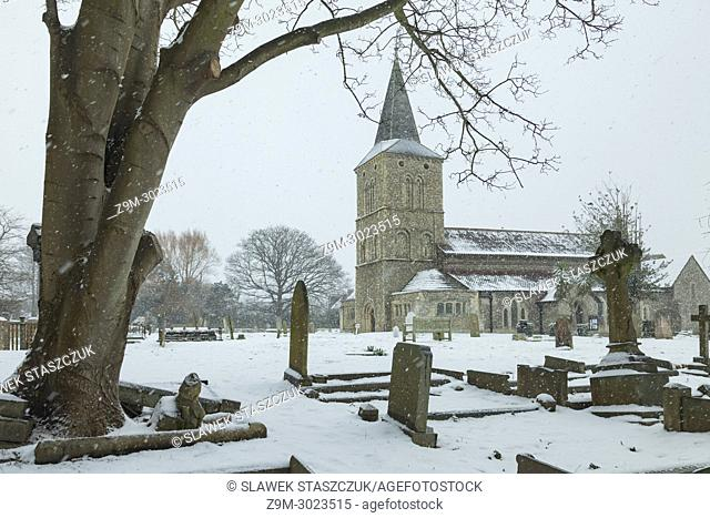 Snow at St Michael's church in Southwick, West Sussex, England