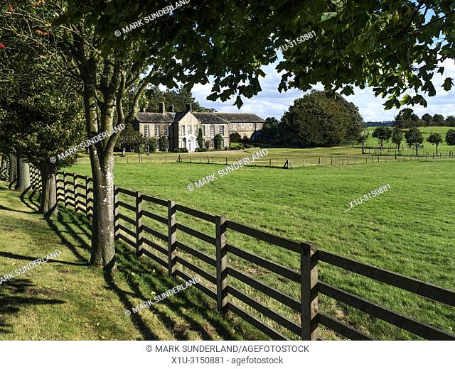 Leathley Hall from Hall Lane near Leathley in the Washburn Valley North Yorkshire England
