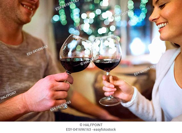 Beautiful young couple sitting on the floor, drinking red wine. Christmas time