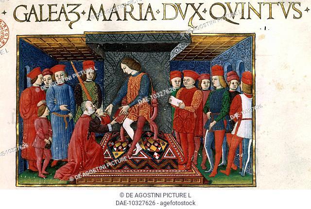 Galeazzo Maria Sforza, Duke of Milan, miniature from a manuscript. Italy, 15th century.  Paris, Bibliothèque Nationale De France (Library)