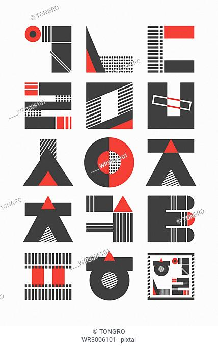 Typography of Korean alphabets with modern geometric patterns