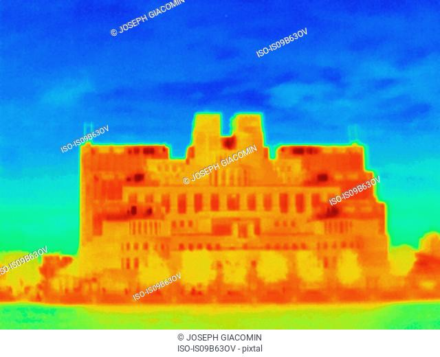Thermal photograph of MI6 building facade, London, UK
