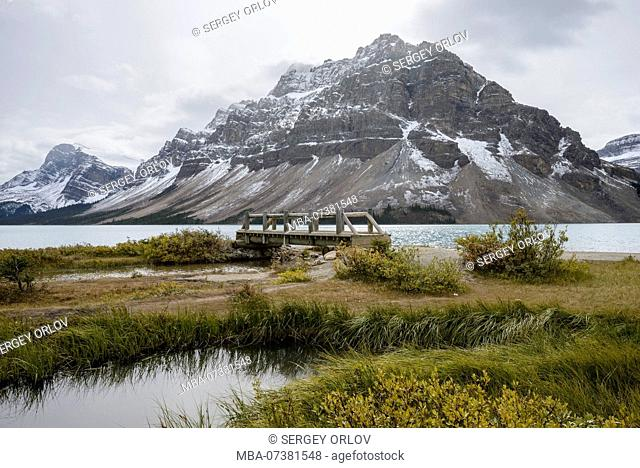 Bow Lake, Alberta, bridge, mountain, snow, lake