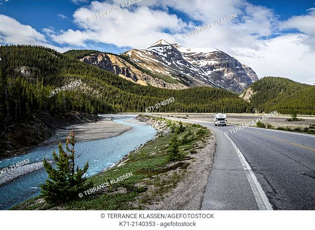 Travel scene with the Icefields Parkway near the bow summit in Banff National Park, Alberta, Canada