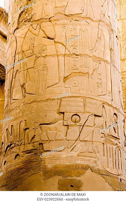 Columns' detail in the Karnak temple in Luxor, Egypt