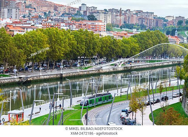 Nervion river, promenade and Zubizuri bridge. Bilbao. Biscay, Spain, Europe