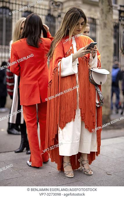 Street Style - Paris Fashion Week Womenswear Fall/Winter 2019/2020, Aida Domenech, wearing an orange suit and snake print cowboy boots and Angela Rozas Saiz a...