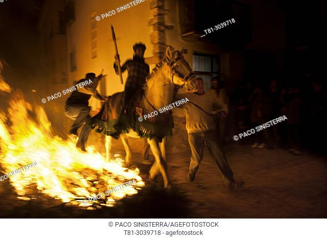 medieval festival of fire, Villanueva de alcolea, Castellon, Spain
