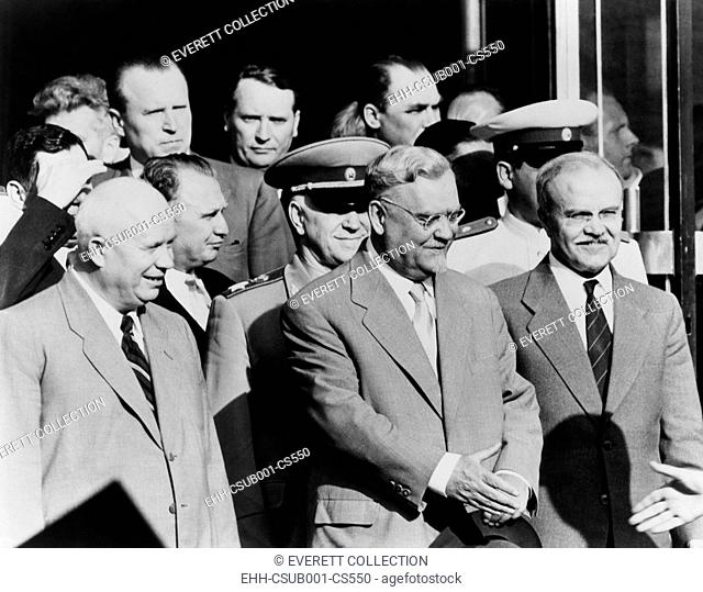 Soviet delegation leaving the Palace of Nations, Geneva, during the 'Big Four' Summit in July 1955. Front row, L-R: Nikita Khrushchev