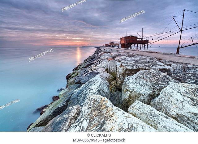 Europe, Italy, Veneto, Chioggia, Sottomarina. View of the Casoni, the stilt house of fishermen on the sea