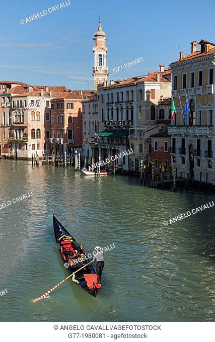 Gondola on the Canal Grande, Venice, Italy