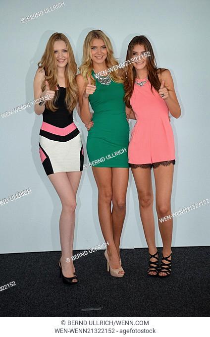 Heidi Klum and the three finalists of 'Germany's Next Topmodel' attending a press conference at KoelnSky. Featuring: Ivana Teclic,Jolina Fust