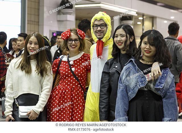 October 31, 2018, Tokyo, Japan - Costumed partygoers enjoy Halloween celebrations in Shibuya. People gather to celebrate Halloween every year in Shibuya's...